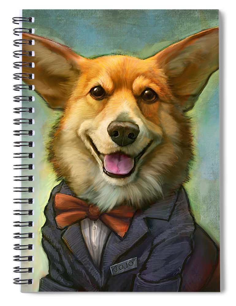 Corgi Spiral Notebook featuring the painting Jojo's Supertini by Sean ODaniels