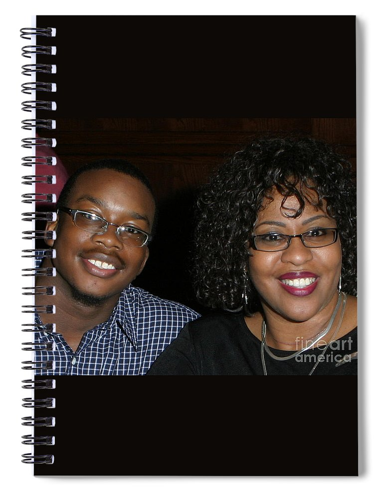 Spiral Notebook featuring the mixed media Josh And His Mom by Angela L Walker