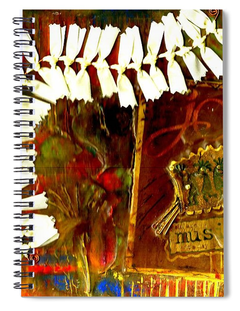 Abstract Spiral Notebook featuring the mixed media JOY by Angela L Walker