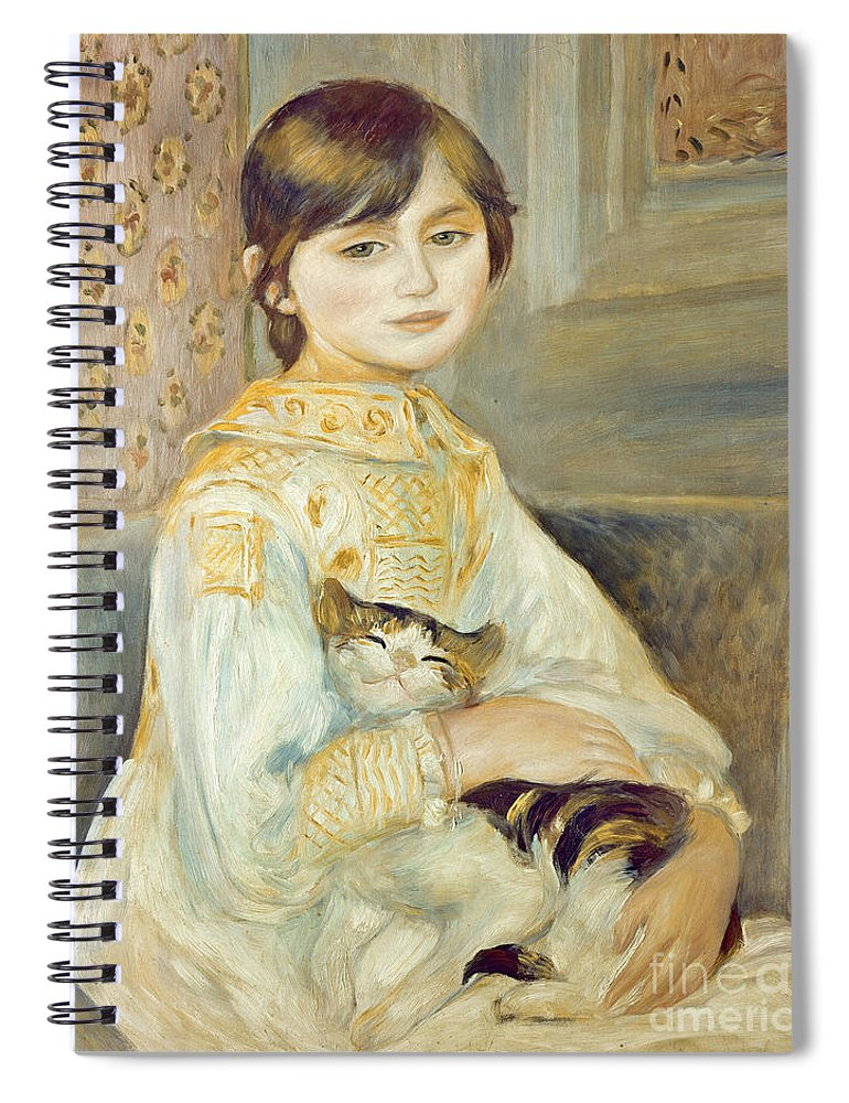 Julie Spiral Notebook featuring the painting Julie Manet With Cat by Pierre Auguste Renoir