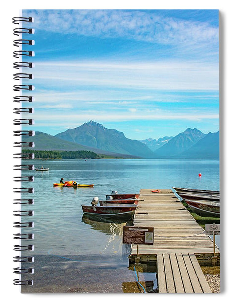 Montana Spiral Notebook featuring the photograph July 4th on Lake McDonald by Bryan Spellman
