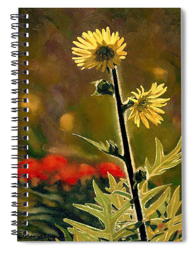 Prairie Flowers Spiral Notebook featuring the painting July Afternoon-Compass Plant by Bruce Morrison