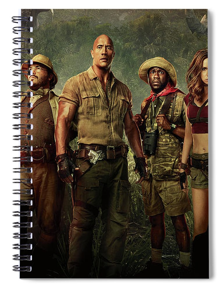 Jumanji Spiral Notebook featuring the drawing Jumanji Welcome To The Jungle 2.0 by Movie Poster Prints