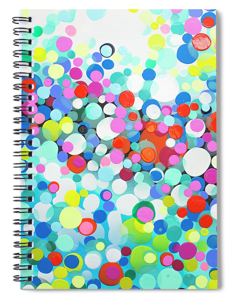 Abstract Spiral Notebook featuring the painting Just Let It by Claire Desjardins