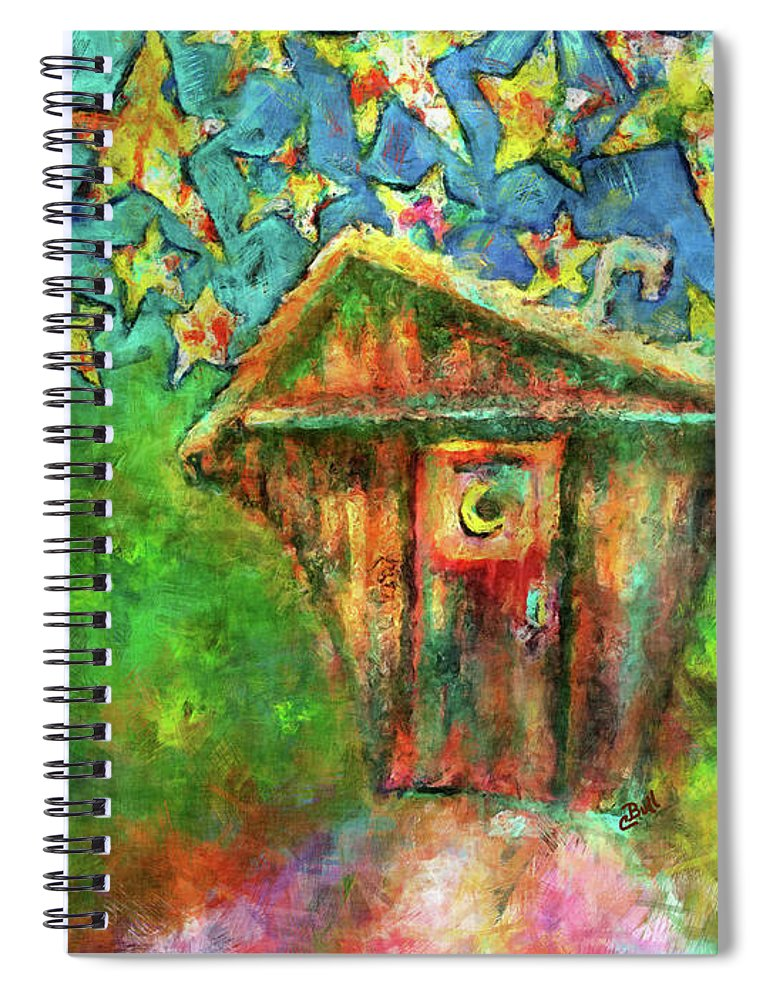 Outhouse Spiral Notebook featuring the painting Kaleidoscope Skies by Claire Bull