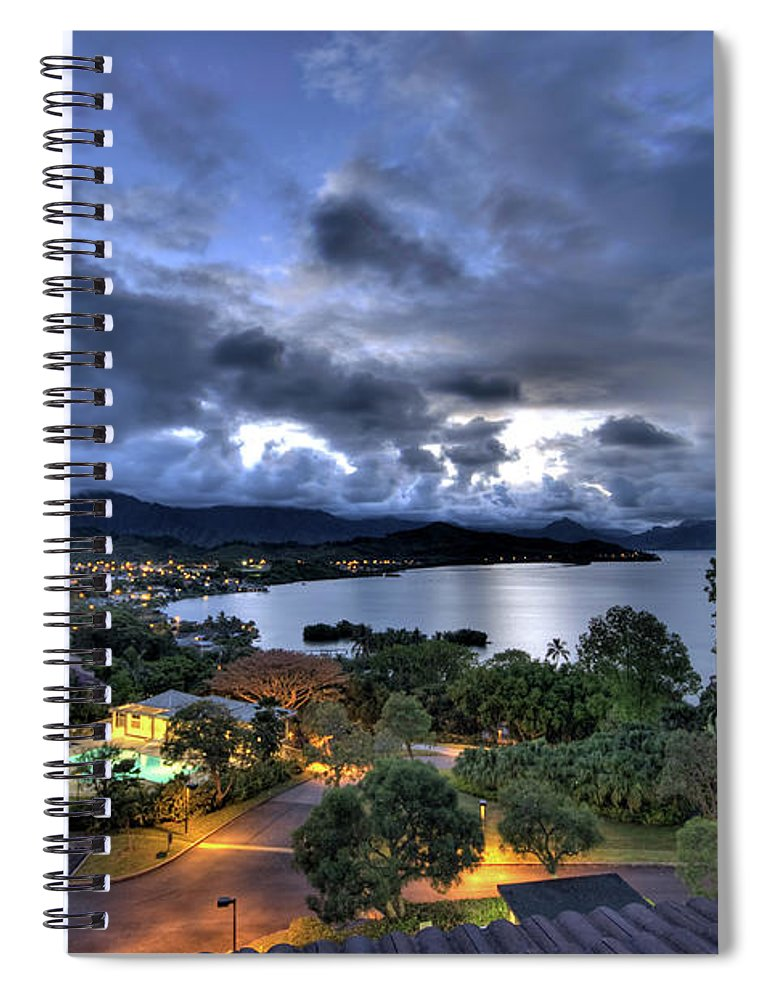 Hawaii Spiral Notebook featuring the photograph Kaneohe Bay Night Hdr by Dan McManus