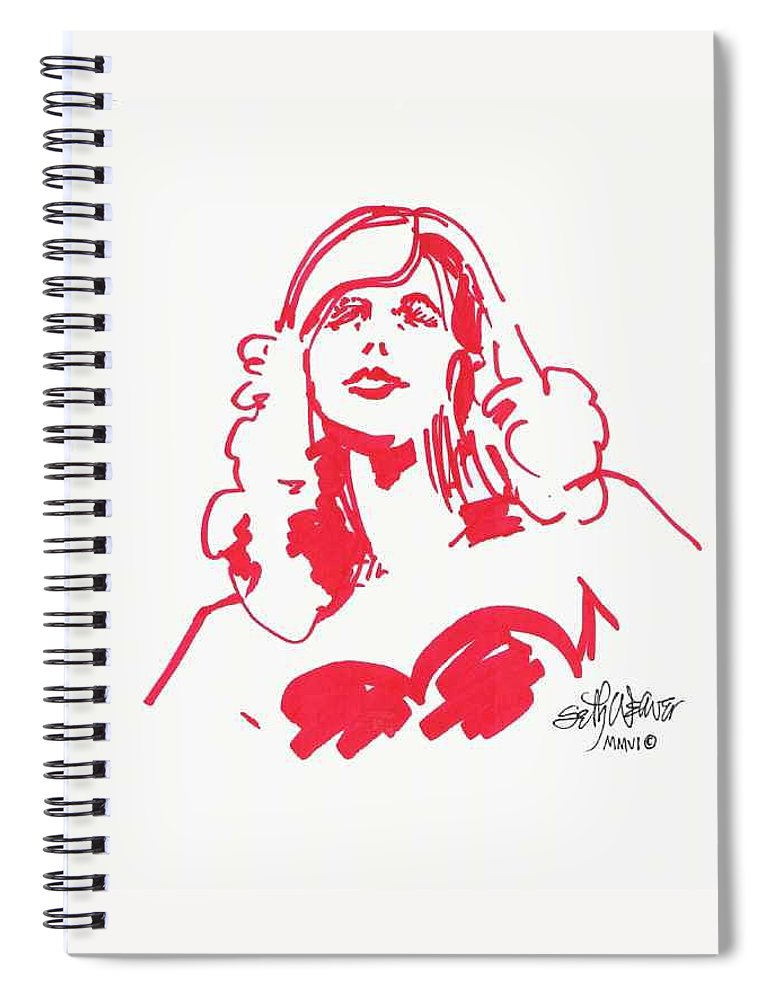 A Fashion Model And Movie Star Captured In A Classic %0 Spiral Notebook featuring the drawing Kate Moss by Seth Weaver