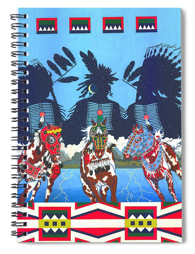 America Spiral Notebook featuring the painting Keepers Of The Law by Chholing Taha