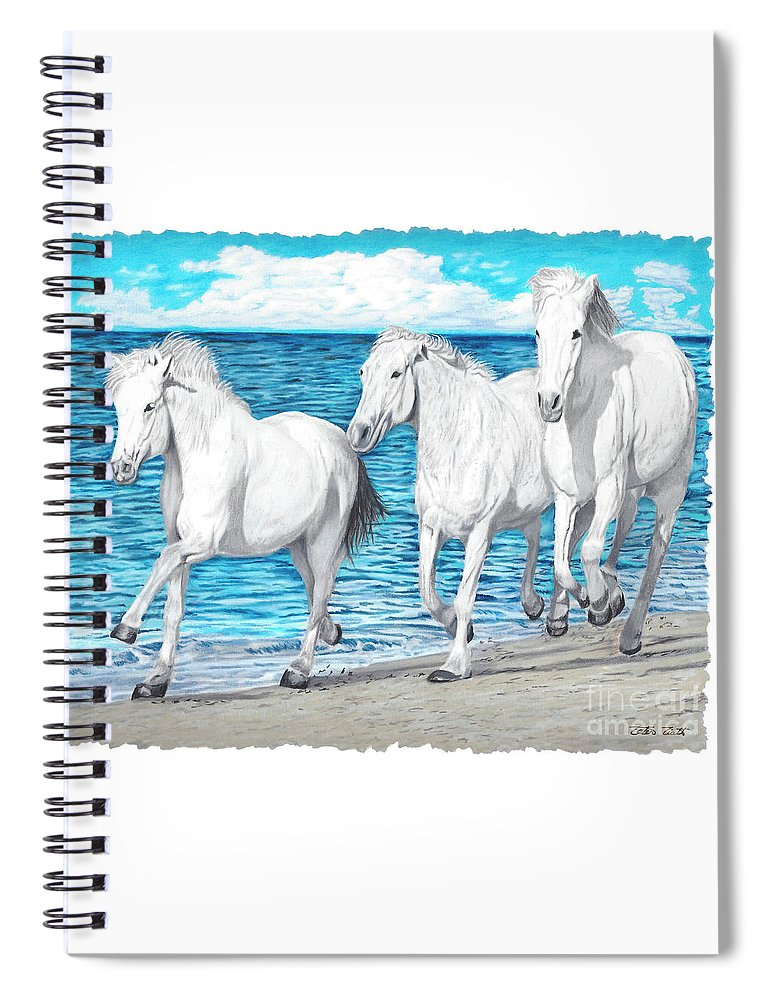 Horses Spiral Notebook featuring the painting Kicking Up The Sand by Peter Piatt