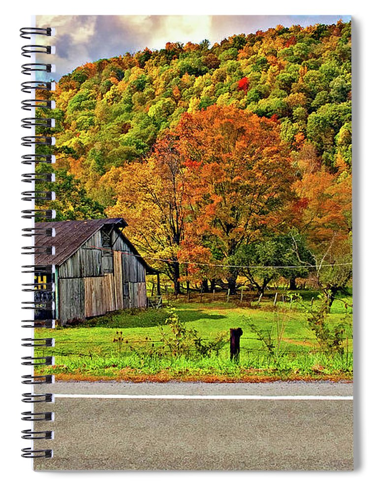 West Virginia Spiral Notebook featuring the photograph Kindred Barns by Steve Harrington