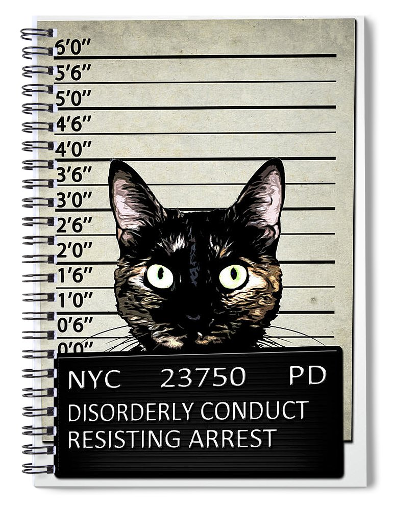 Cat Spiral Notebook featuring the mixed media Kitty Mugshot by Nicklas Gustafsson