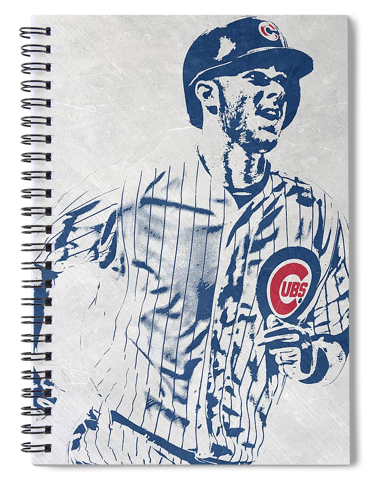 Kris Bryant Spiral Notebook featuring the mixed media kris bryant CHICAGO CUBS PIXEL ART 2 by Joe Hamilton