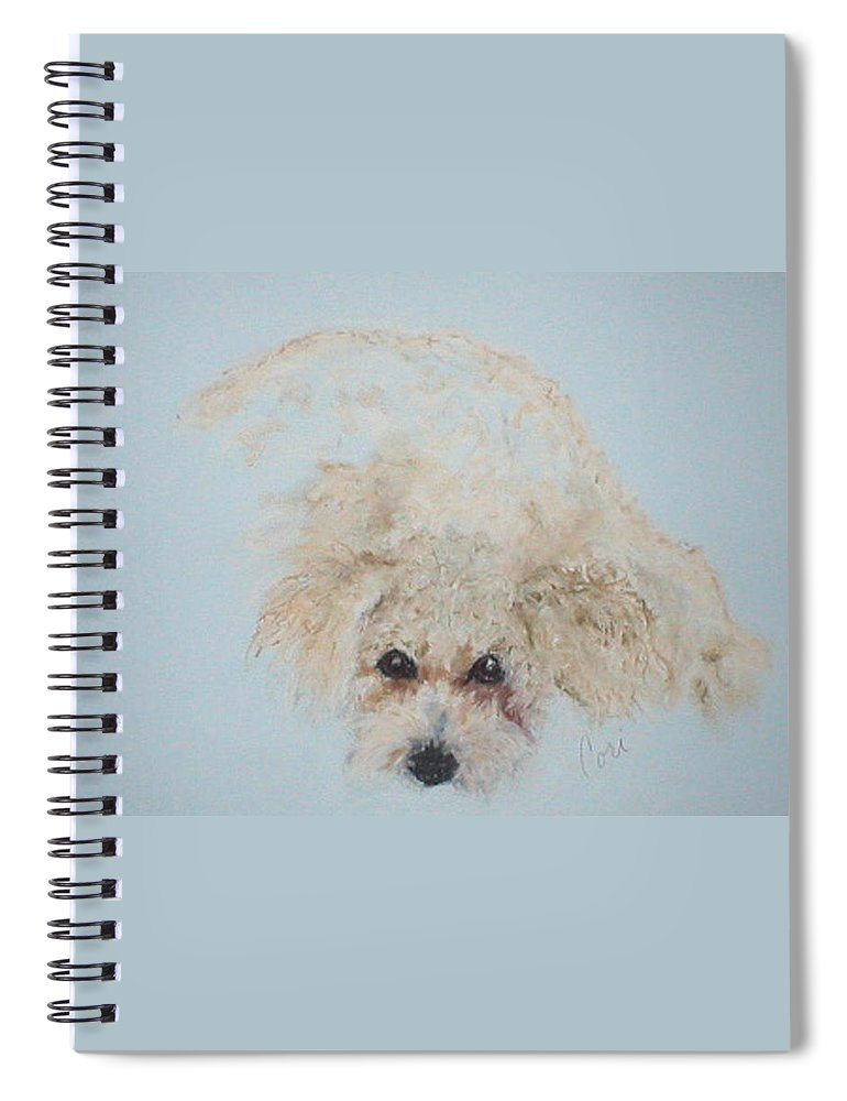 Dog Spiral Notebook featuring the drawing Kuku by Cori Solomon