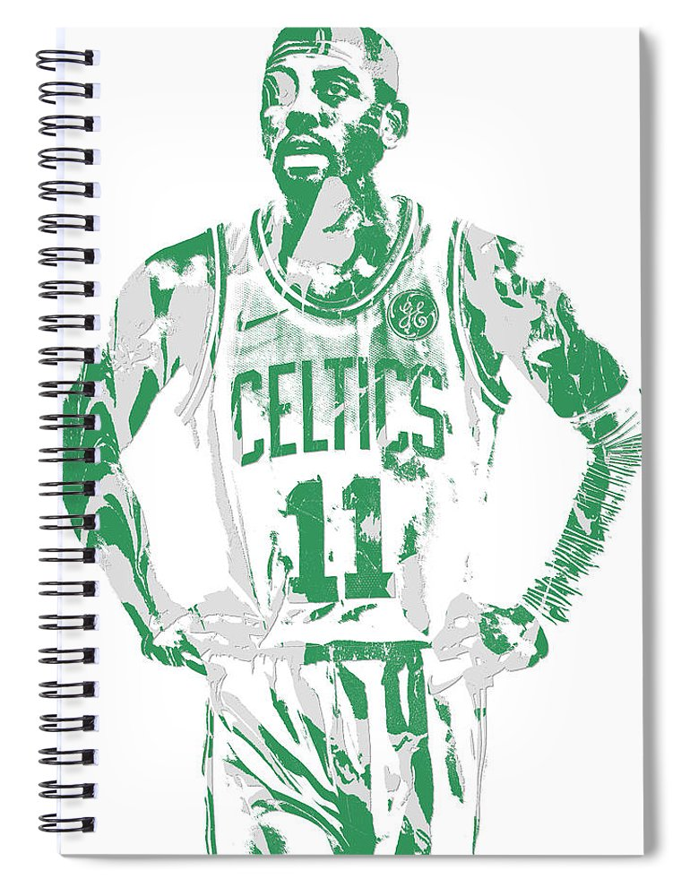 Kyrie Irving Spiral Notebook featuring the mixed media Kyrie Irving Boston Celtics Pixel Art 8 by Joe Hamilton