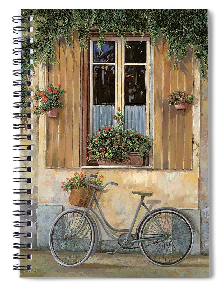 Bike Spiral Notebook featuring the painting La Bici by Guido Borelli