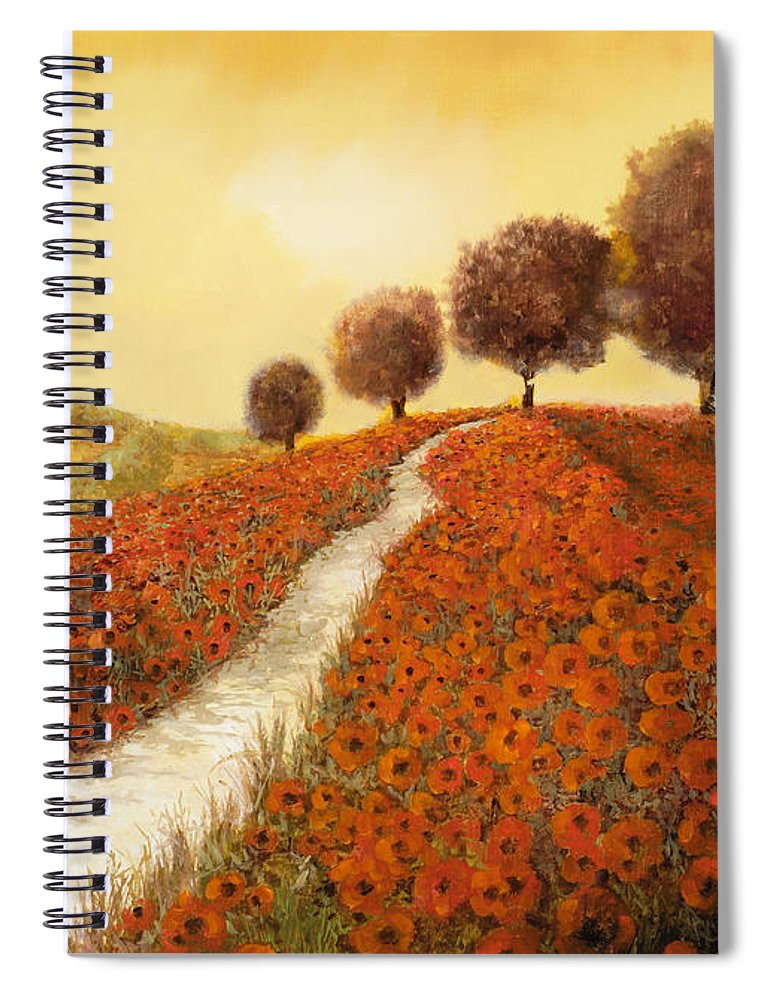 Tuscany Spiral Notebook featuring the painting La Collina Dei Papaveri by Guido Borelli