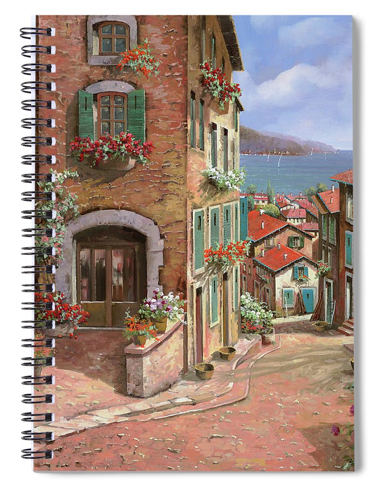 Seascape Spiral Notebook featuring the painting Scendendo Verso Il Mare by Guido Borelli