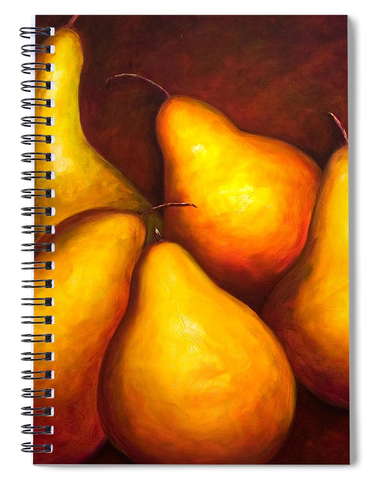 Still Life Yellow Spiral Notebook featuring the painting La Familia by Shannon Grissom