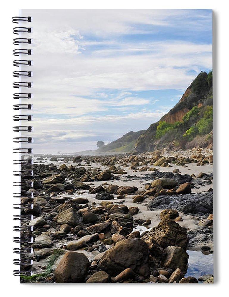 La Piedra State Beach Spiral Notebook featuring the photograph La Piedra Shore Malibu Dusk by Kyle Hanson