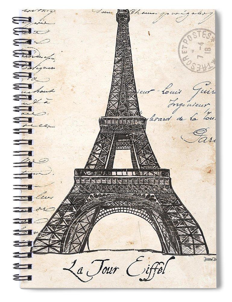 Eiffel Tower Spiral Notebook featuring the painting La Tour Eiffel by Debbie DeWitt