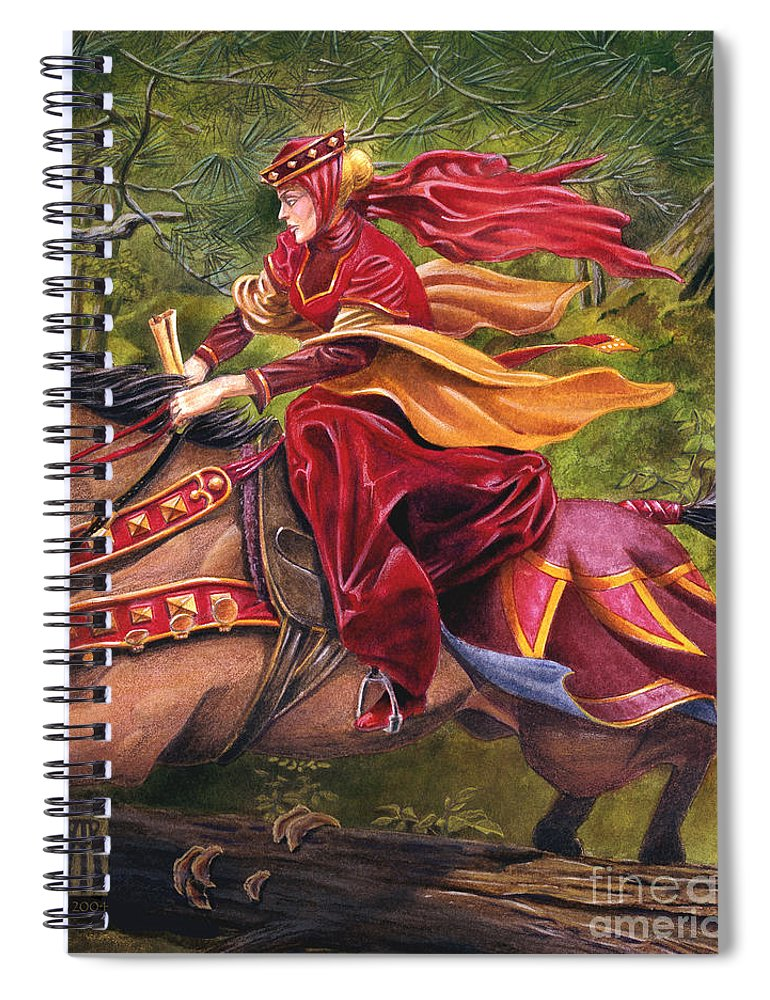 Camelot Spiral Notebook featuring the painting Lady Lunete by Melissa A Benson