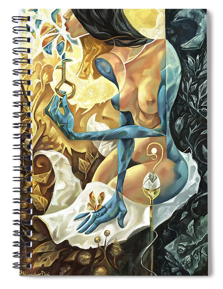 Blue Spiral Notebook featuring the painting Lady of The Key by Alejandro Dini