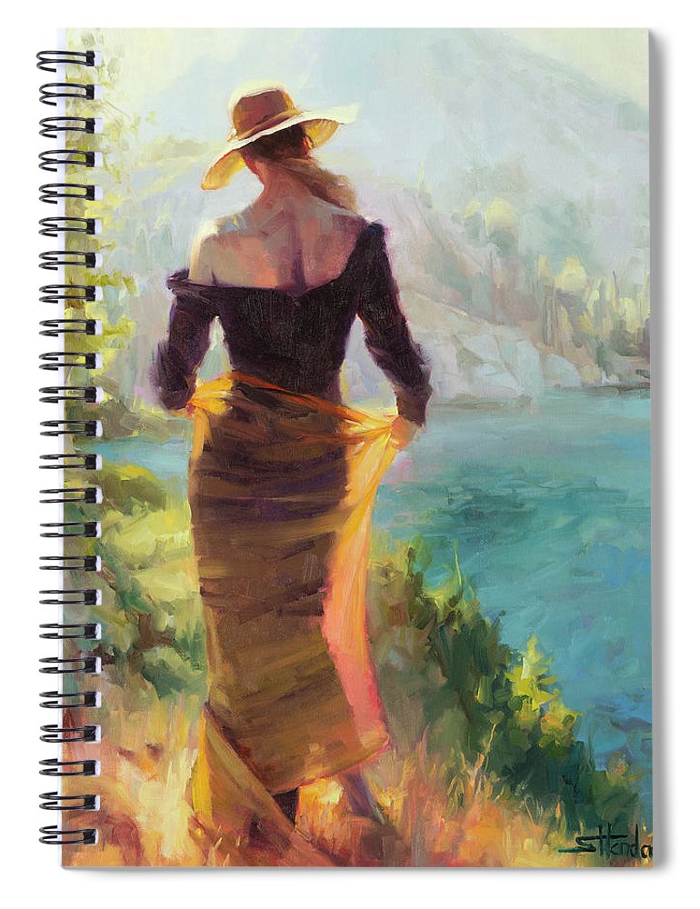 Woman Spiral Notebook featuring the painting Lady of the Lake by Steve Henderson