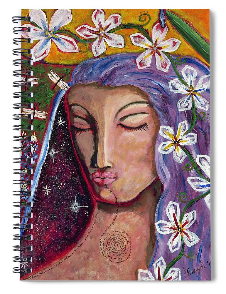 Peace Spiral Notebook featuring the painting Lady Peace by Evelyne Verret
