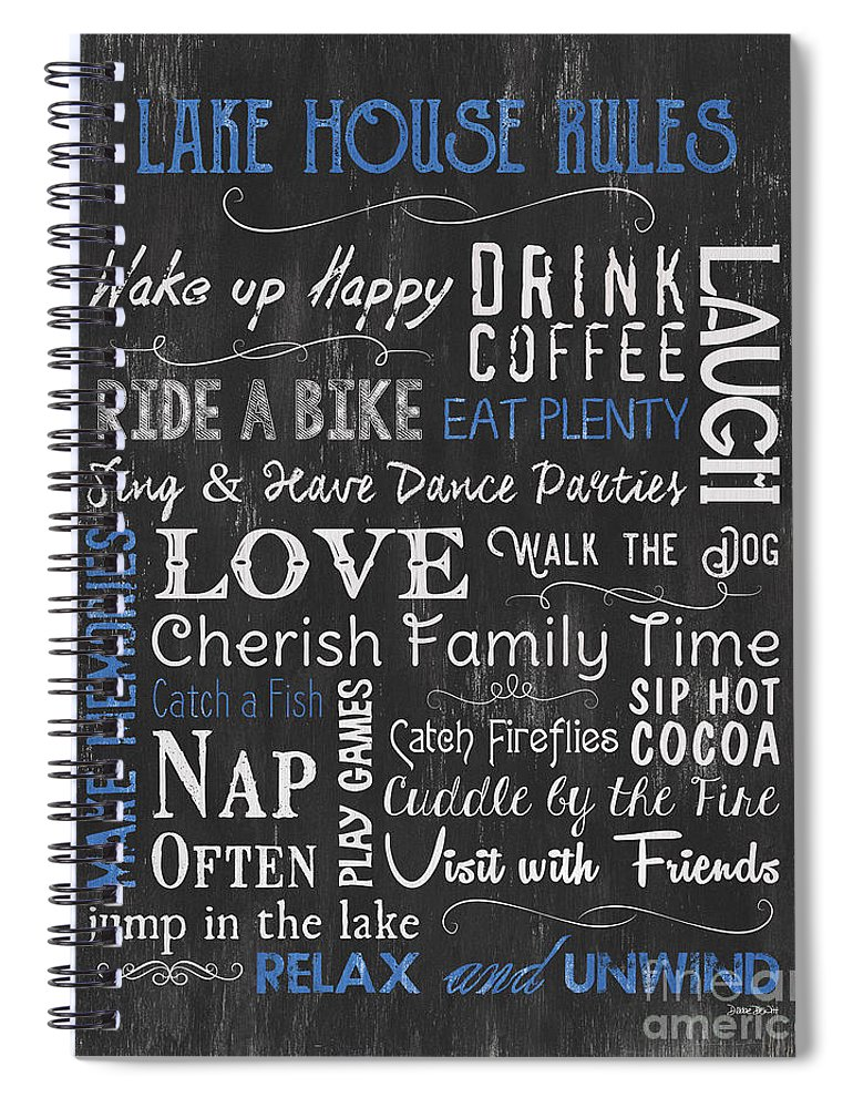 Lake Spiral Notebook featuring the painting Lake House Rules by Debbie DeWitt