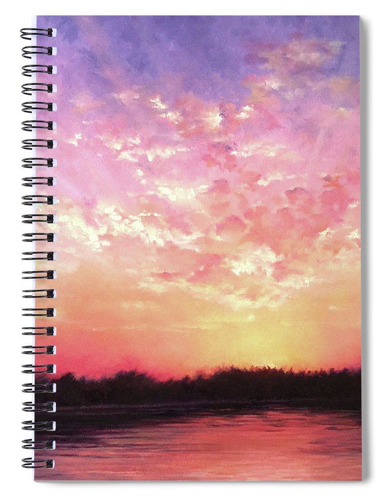 Landscape Spiral Notebook featuring the painting Lake Sunset by Teri Rosario