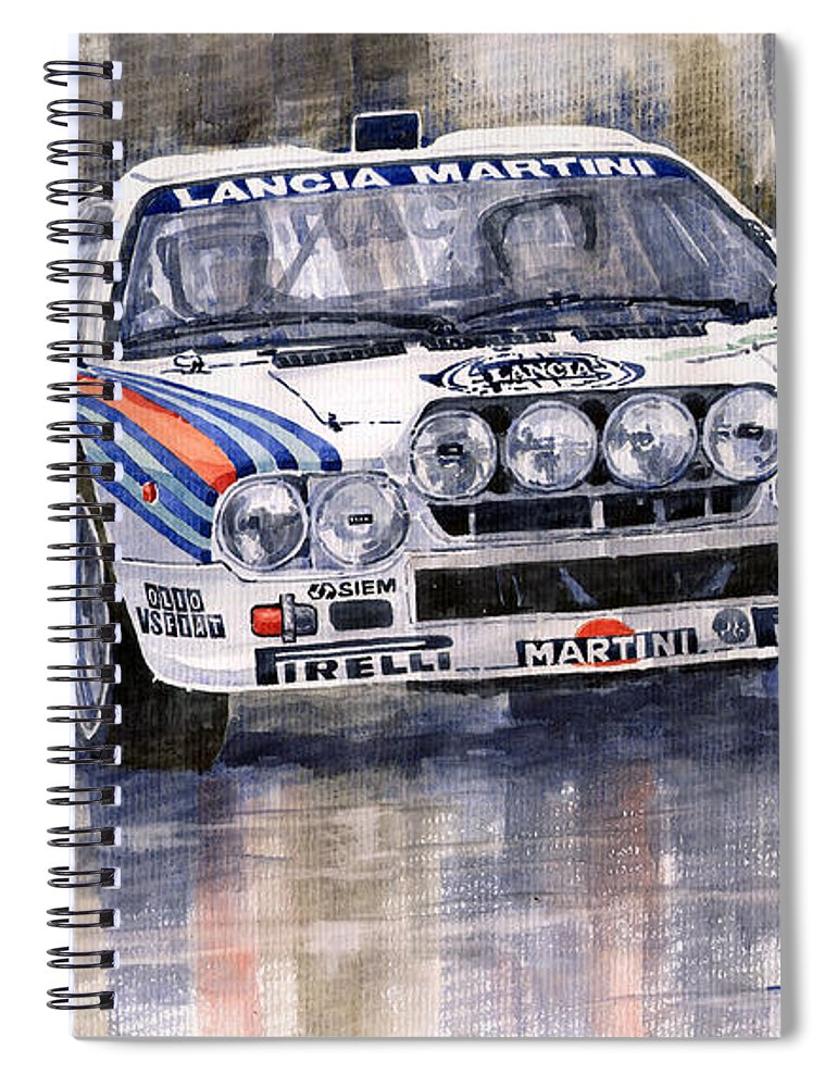 Watercolor Spiral Notebook featuring the painting Lancia 037 Martini Rally 1983 by Yuriy Shevchuk