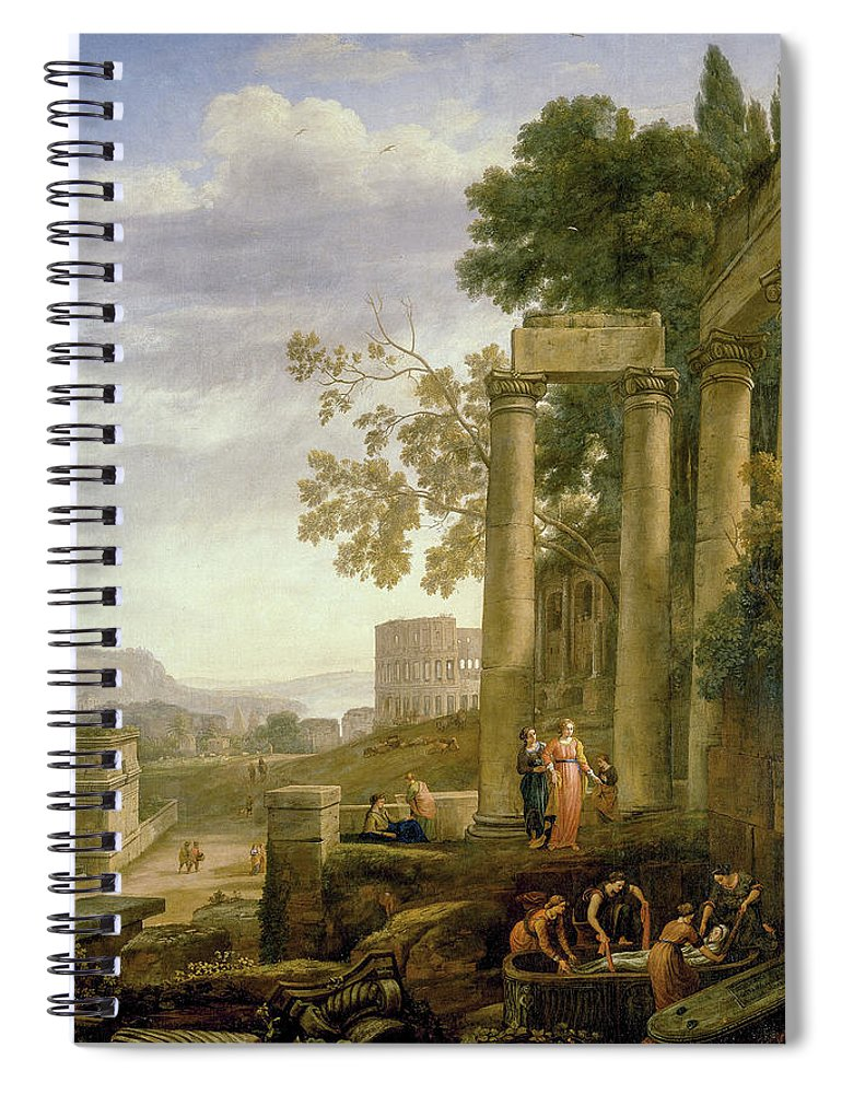 Landscape With The Burial Of Saint Serapia Spiral Notebook