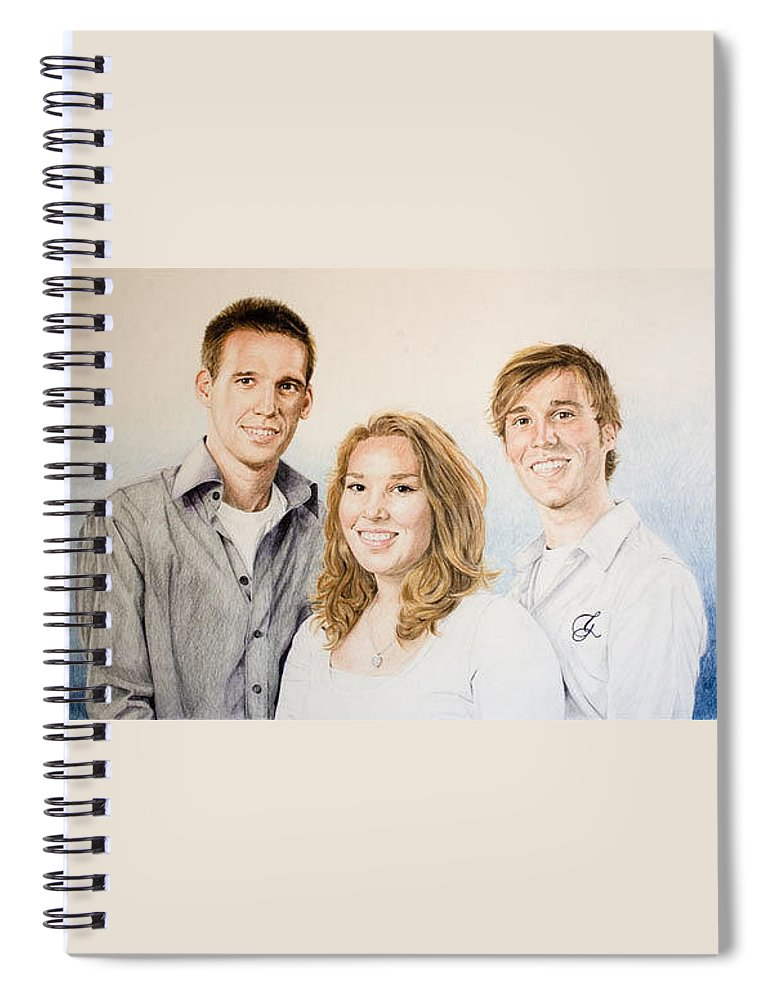 Portrait Spiral Notebook featuring the drawing Lars Niels And Ilse by Rob De Vries