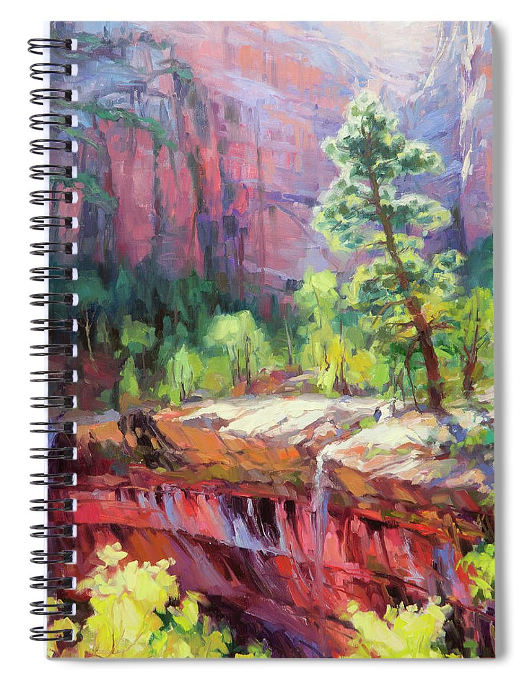 Zion Spiral Notebook featuring the painting Last Light In Zion by Steve Henderson