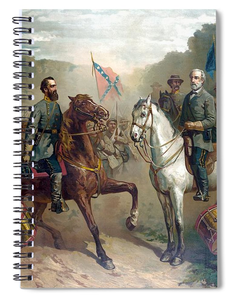 Robert E Lee Spiral Notebook featuring the painting Last Meeting Of Lee And Jackson by War Is Hell Store