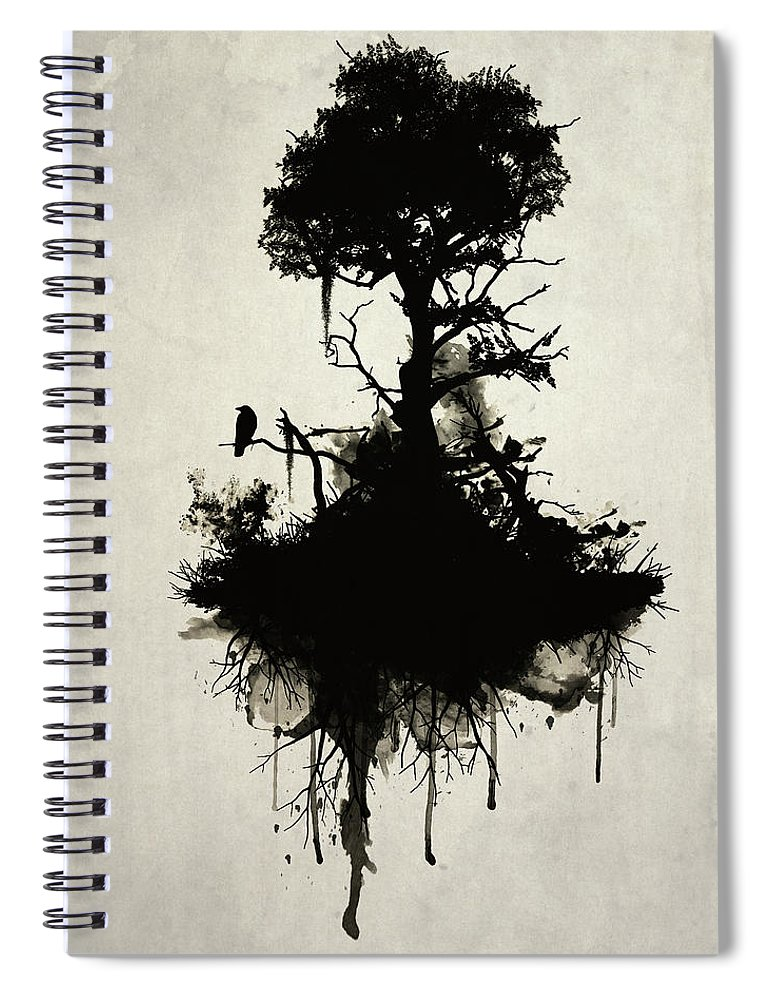 Nature Spiral Notebook featuring the painting Last Tree Standing by Nicklas Gustafsson