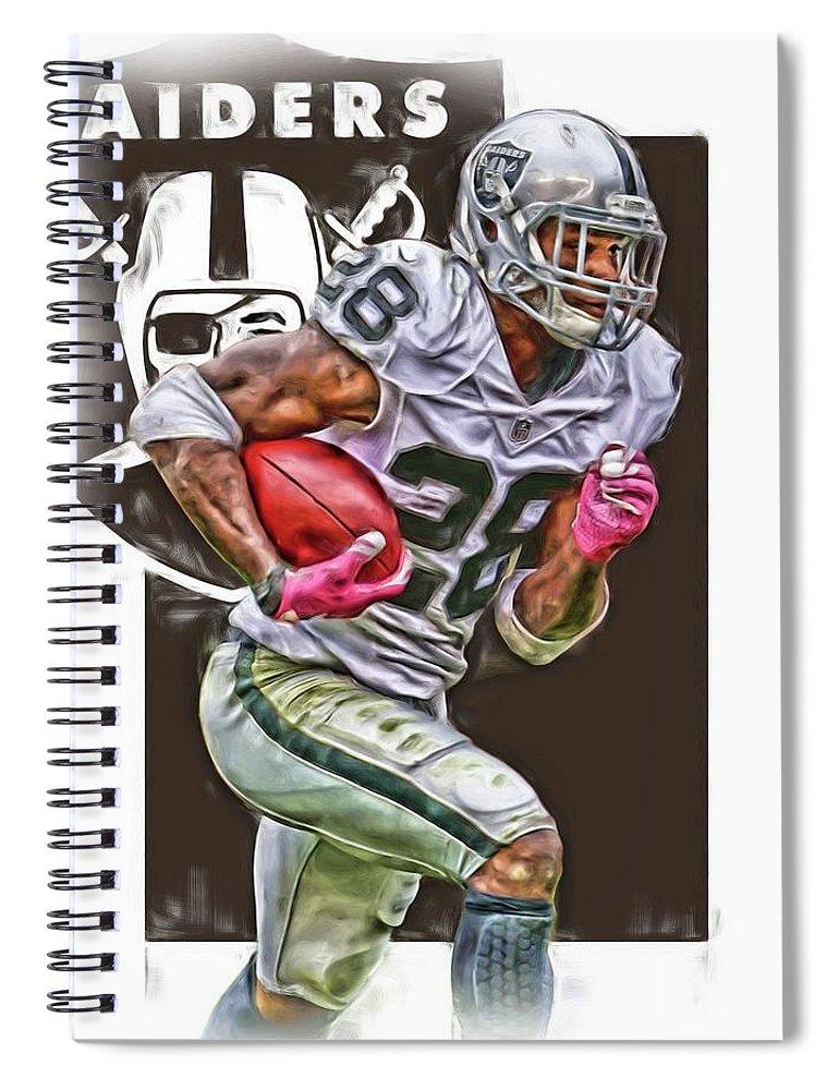 Latavious Murray Spiral Notebook featuring the mixed media Latavious Murray Oakland Raiders by Joe Hamilton