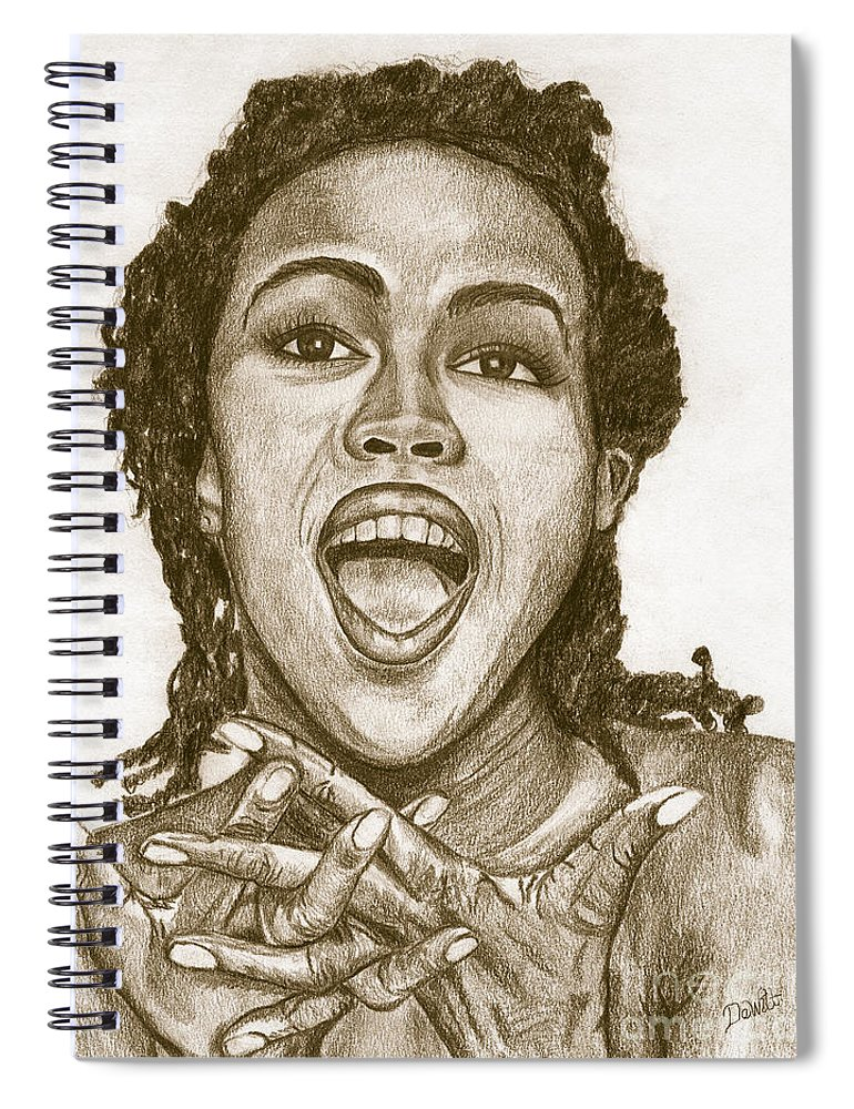 Lauryn Hill Spiral Notebook featuring the painting Lauryn Hill by Debbie DeWitt