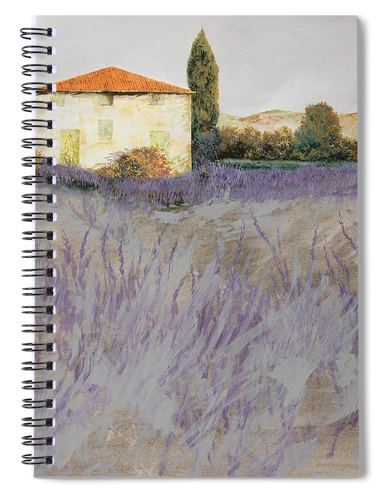 Lavender Spiral Notebook featuring the painting Lavender by Guido Borelli