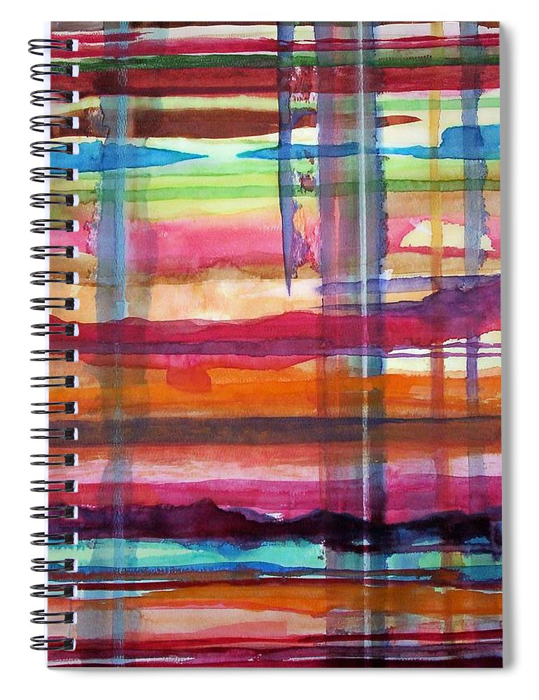 Abstract Spiral Notebook featuring the painting Layered by Suzanne Udell Levinger