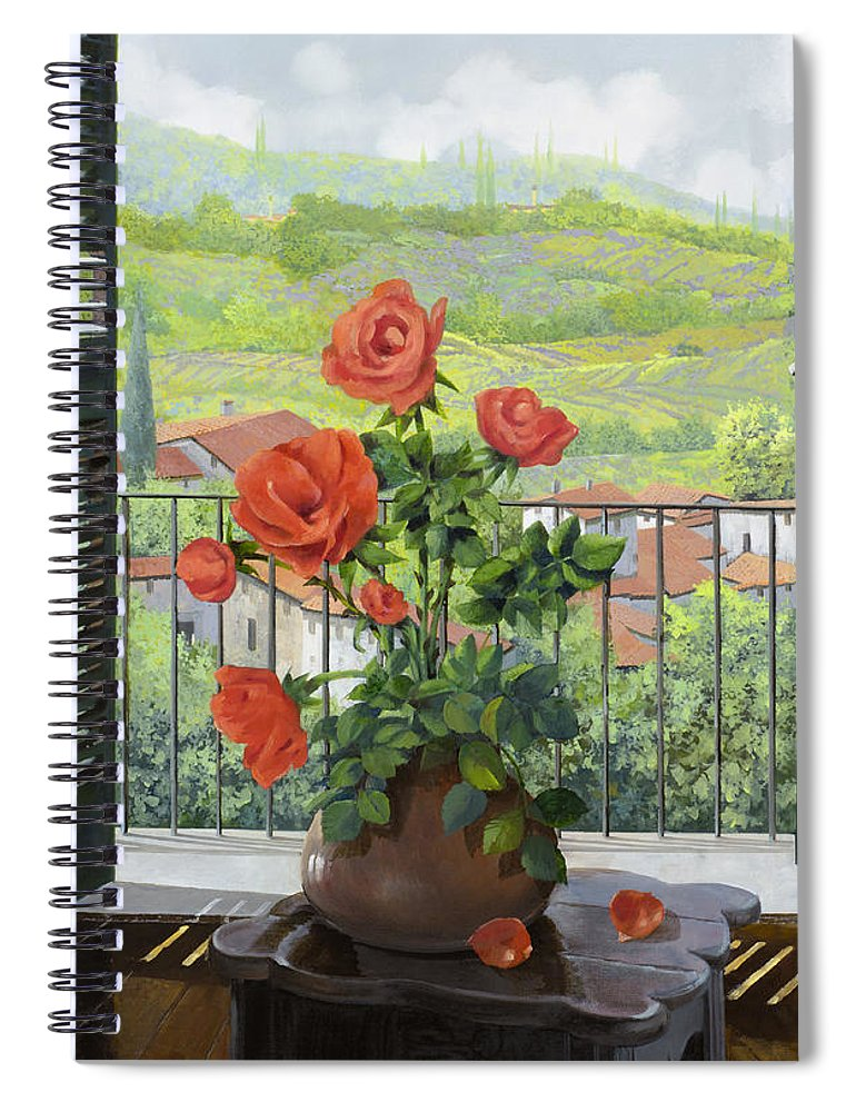 Landscape Spiral Notebook featuring the painting Le Persiane Sulla Valle by Guido Borelli