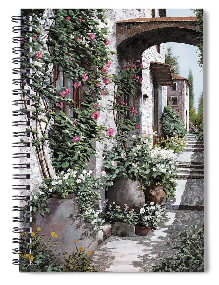 Arch Spiral Notebook featuring the painting Le Rose Rampicanti by Guido Borelli
