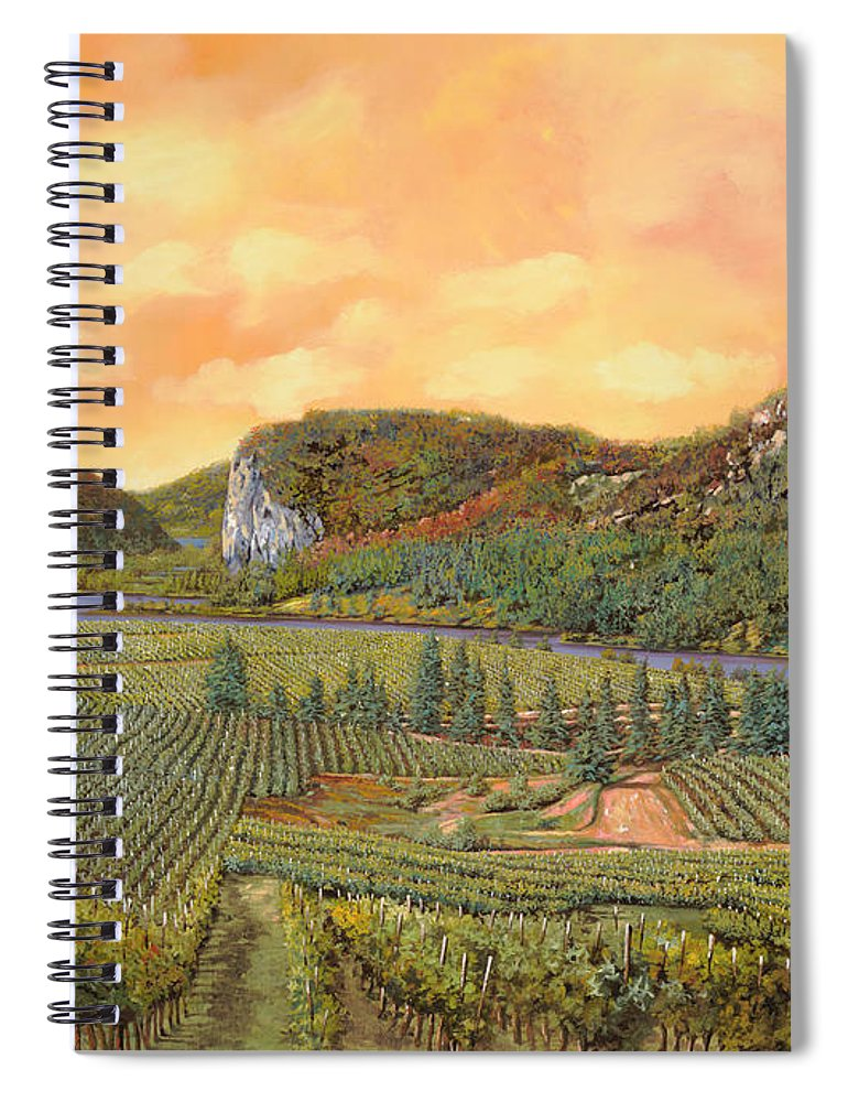 Vineyard Spiral Notebook featuring the painting Le Vigne Nel 2010 by Guido Borelli