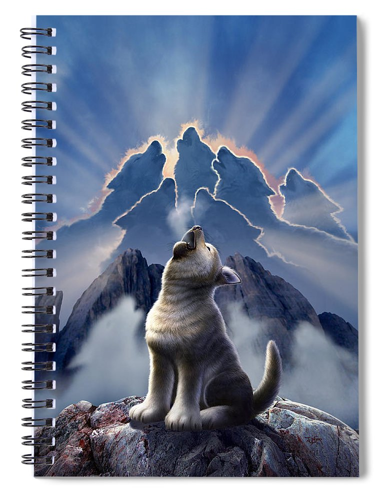 Wolf Spiral Notebook featuring the digital art Leader of the Pack by Jerry LoFaro