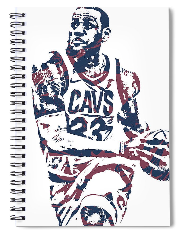 6b581312bdcc Lebron James Spiral Notebook featuring the mixed media Lebron James  Cleveland Cavaliers Pixel Art 50 by