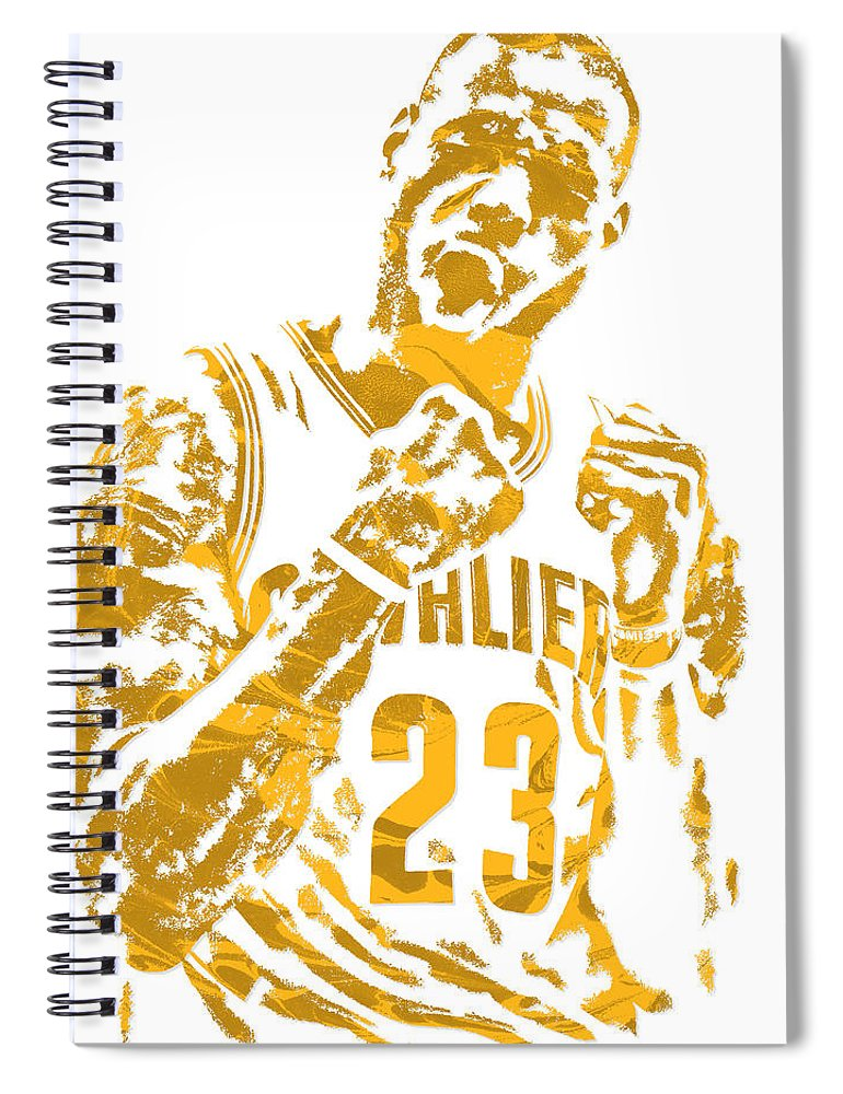 Lebron James Spiral Notebook featuring the mixed media Lebron James Cleveland Cavaliers Pixel Art 9 by Joe Hamilton