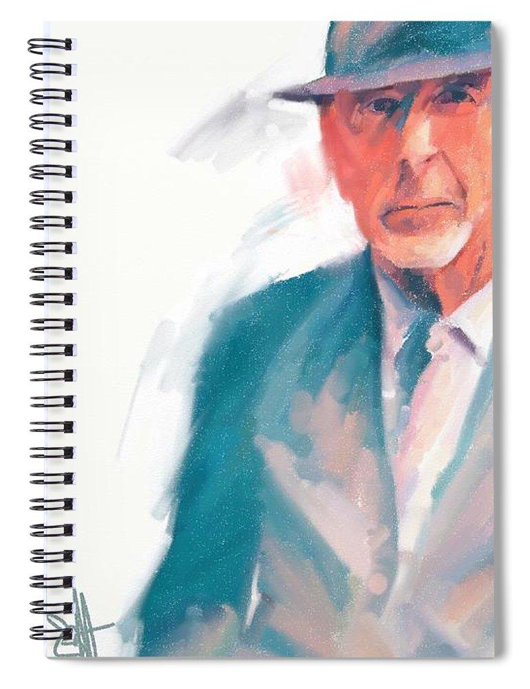 Leonard Cohen Music Portrait Musician Songwriter Spiral Notebook featuring the digital art Leonard by Scott Waters