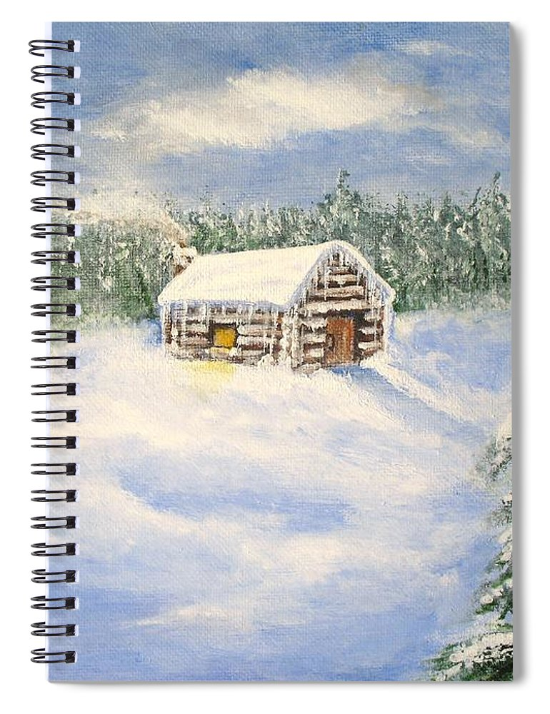 Log Cabin Spiral Notebook featuring the painting Let It Snow by Lisa Cini