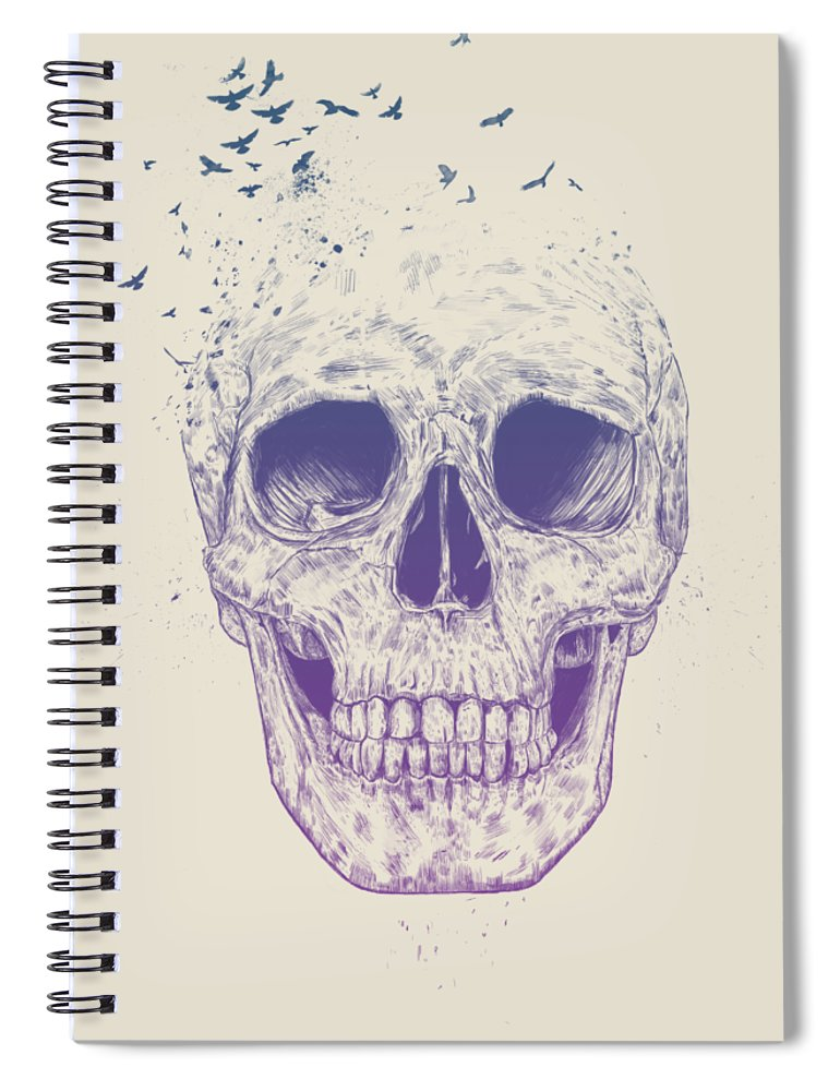 Skull Spiral Notebook featuring the mixed media Let them fly by Balazs Solti