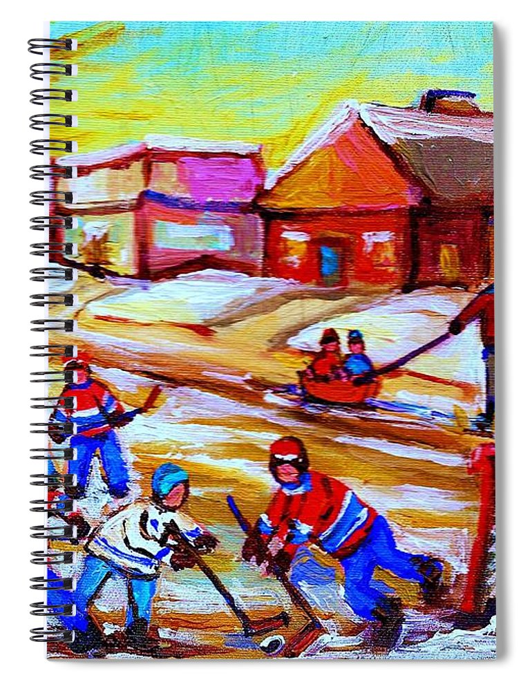 Hockey Canvas Prints Spiral Notebook featuring the painting Lets Play Hockey by Carole Spandau